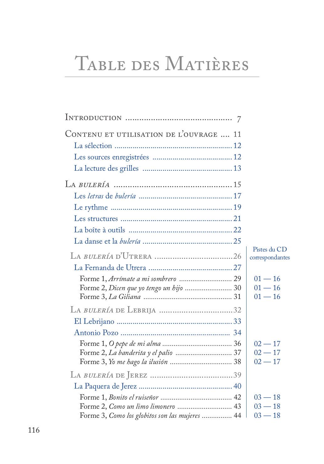 Buleria Table des matières p. 1 sur 3